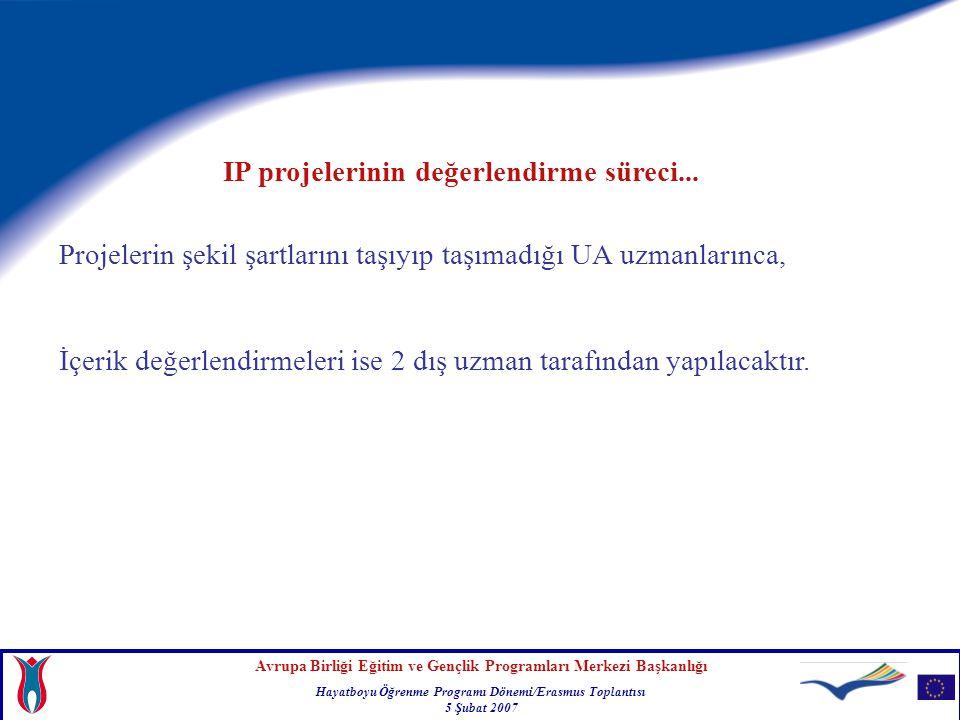 Avrupa Birliği Eğitim ve Gençlik Programları Merkezi Başkanlığı Hayatboyu Öğrenme Programı Dönemi/Erasmus Toplantısı 5 Şubat 2007 Projelerin şekil şartlarını taşıyıp taşımadığı UA uzmanlarınca, İçerik değerlendirmeleri ise 2 dış uzman tarafından yapılacaktır.