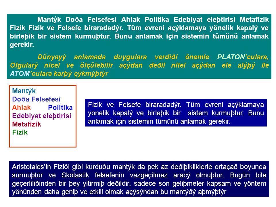 Mantýk Doða Felsefesi Ahlak Politika Edebiyat eleþtirisi Metafizik Fizik Fizik ve Felsefe biraradadýr.