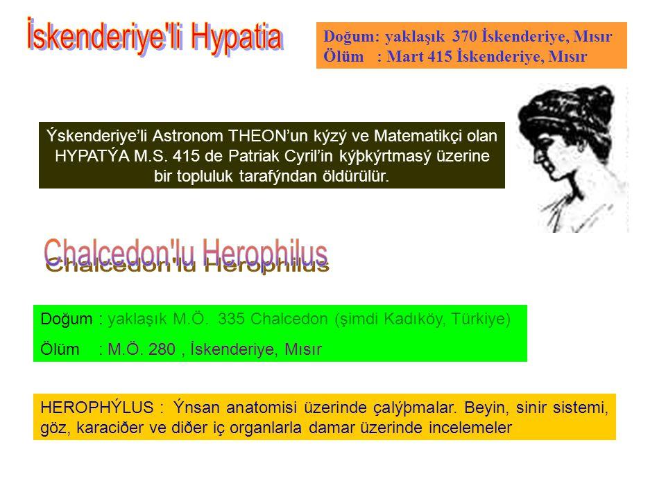 Doğum: yaklaşık 370 İskenderiye, Mısır Ölüm : Mart 415 İskenderiye, Mısır Ýskenderiye'li Astronom THEON'un kýzý ve Matematikçi olan HYPATÝA M.S.