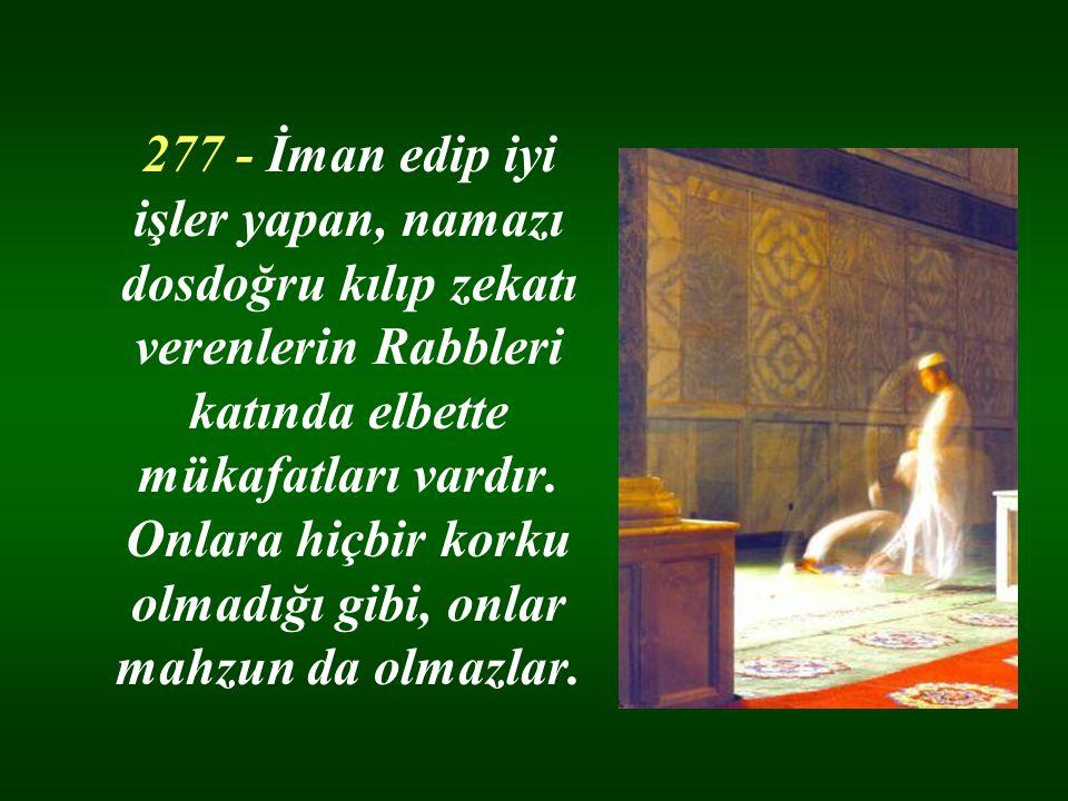 277 - İman edip iyi işler yapan, namazı dosdoğru kılıp zekatı verenlerin Rabbleri katında elbette mükafatları vardır.