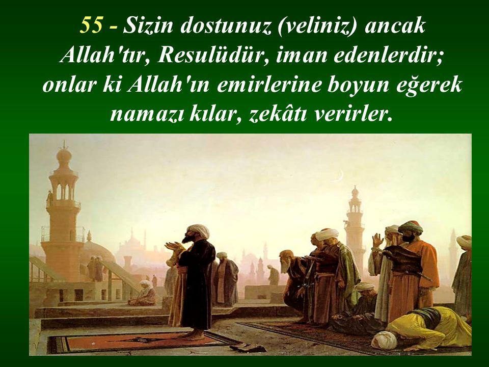 55 - Sizin dostunuz (veliniz) ancak Allah tır, Resulüdür, iman edenlerdir; onlar ki Allah ın emirlerine boyun eğerek namazı kılar, zekâtı verirler.
