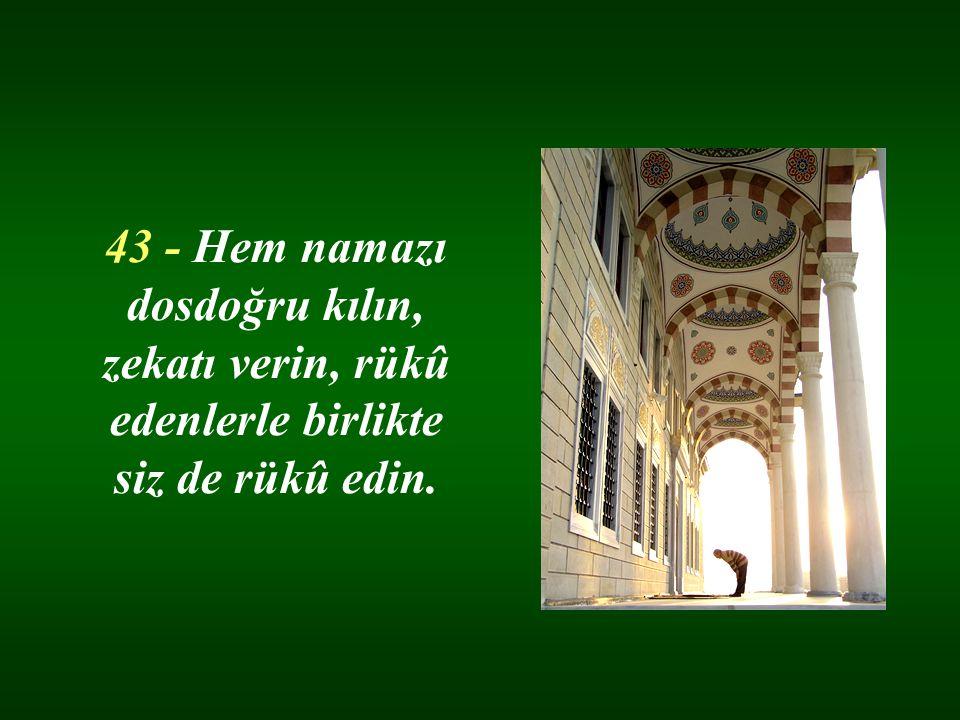 43 - Hem namazı dosdoğru kılın, zekatı verin, rükû edenlerle birlikte siz de rükû edin.
