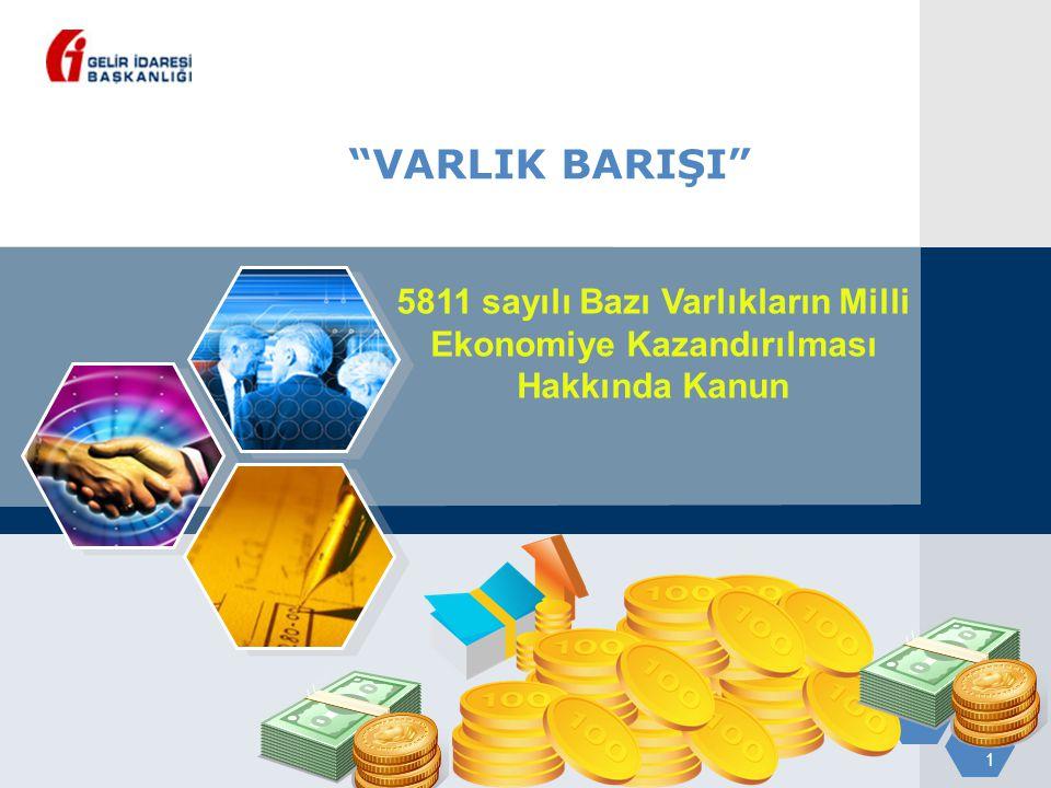 """1 """"VARLIK BARIŞI"""" 5811 sayılı Bazı Varlıkların Milli Ekonomiye Kazandırılması Hakkında Kanun"""