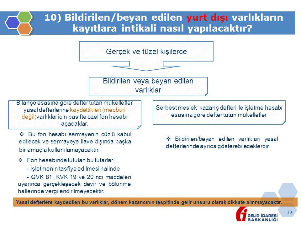 13 10) Bildirilen/beyan edilen yurt dışı varlıkların kayıtlara intikali nasıl yapılacaktır? Gerçek ve tüzel kişilerce Bildirilen veya beyan edilen var