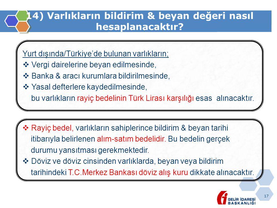 17 14) Varlıkların bildirim & beyan değeri nasıl hesaplanacaktır? Yurt dışında/Türkiye'de bulunan varlıkların;  Vergi dairelerine beyan edilmesinde,