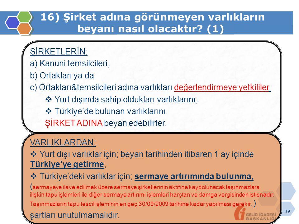 19 16) Şirket adına görünmeyen varlıkların beyanı nasıl olacaktır? (1) ŞİRKETLERİN; a) Kanuni temsilcileri, b) Ortakları ya da c) Ortakları&temsilcile