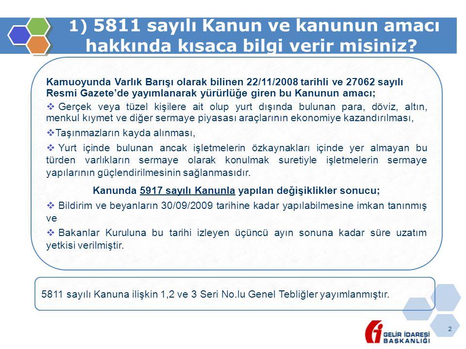 2 1) 5811 sayılı Kanun ve kanunun amacı hakkında kısaca bilgi verir misiniz? Kamuoyunda Varlık Barışı olarak bilinen 22/11/2008 tarihli ve 27062 sayıl