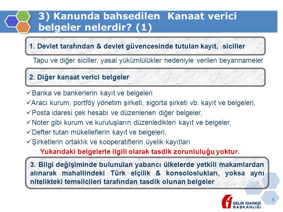 5 3) Kanunda bahsedilen Kanaat verici belgeler nelerdir? (1) 1. Devlet tarafından & devlet güvencesinde tutulan kayıt, siciller Tapu ve diğer siciller