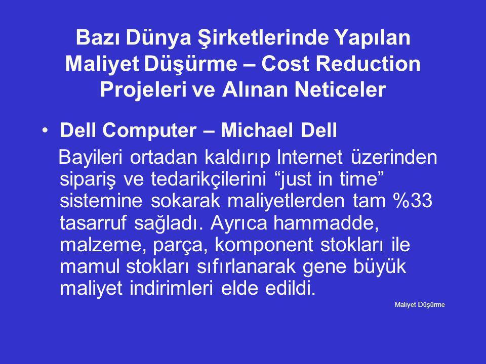 Bazı Dünya Şirketlerinde Yapılan Maliyet Düşürme – Cost Reduction Projeleri ve Alınan Neticeler •Dell Computer – Michael Dell Bayileri ortadan kaldırı