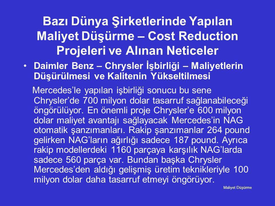 Bazı Dünya Şirketlerinde Yapılan Maliyet Düşürme – Cost Reduction Projeleri ve Alınan Neticeler •Daimler Benz – Chrysler İşbirliği – Maliyetlerin Düşü