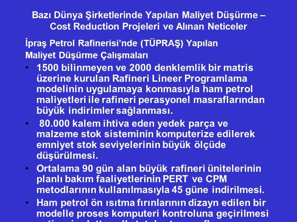 Bazı Dünya Şirketlerinde Yapılan Maliyet Düşürme – Cost Reduction Projeleri ve Alınan Neticeler İpraş Petrol Rafinerisi'nde (TÜPRAŞ) Yapılan Maliyet D
