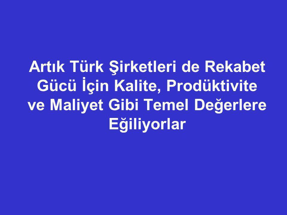 Artık Türk Şirketleri de Rekabet Gücü İçin Kalite, Prodüktivite ve Maliyet Gibi Temel Değerlere Eğiliyorlar
