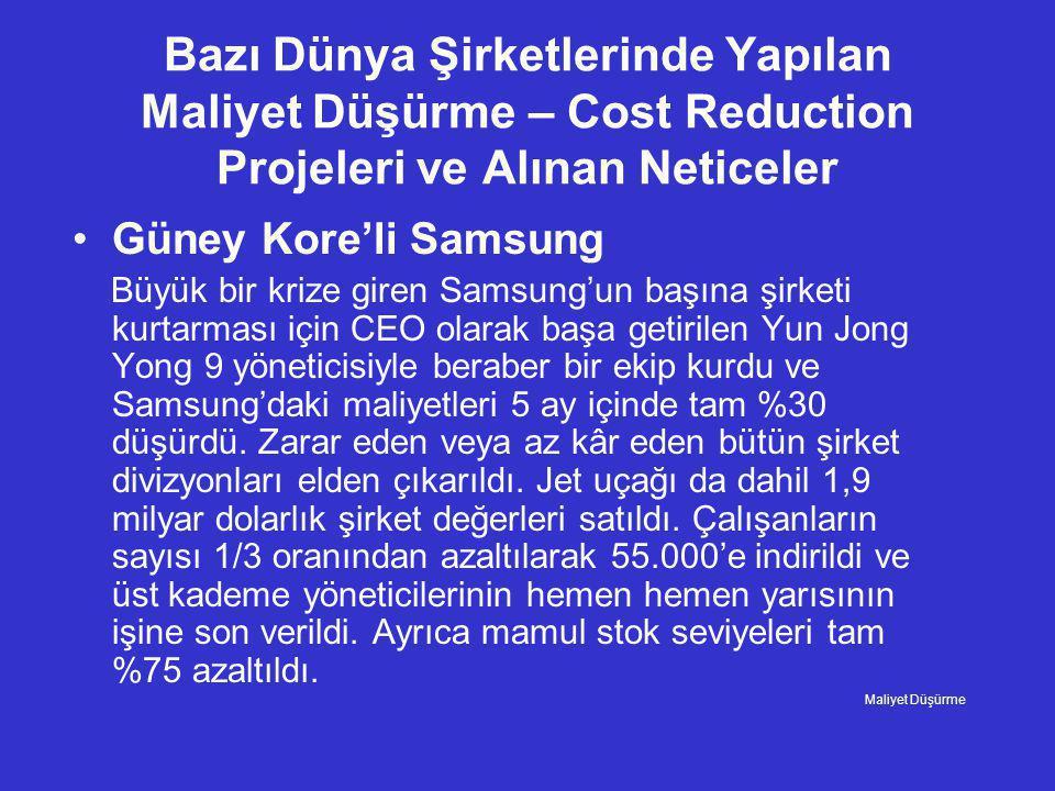 Bazı Dünya Şirketlerinde Yapılan Maliyet Düşürme – Cost Reduction Projeleri ve Alınan Neticeler •Güney Kore'li Samsung Büyük bir krize giren Samsung'u