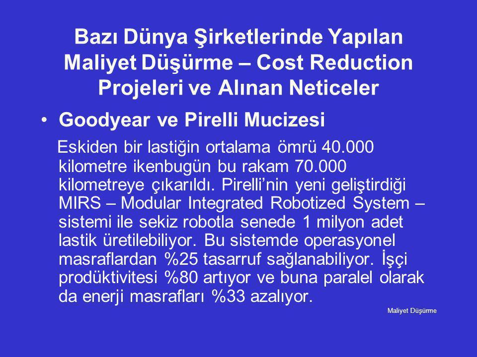 Bazı Dünya Şirketlerinde Yapılan Maliyet Düşürme – Cost Reduction Projeleri ve Alınan Neticeler •Goodyear ve Pirelli Mucizesi Eskiden bir lastiğin ort