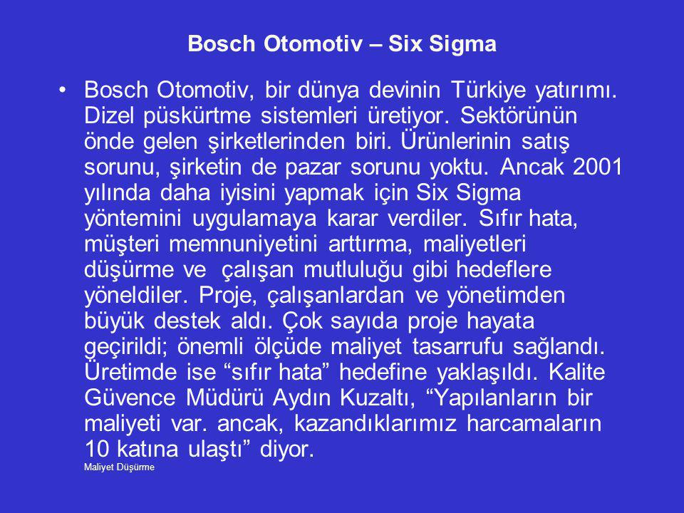 Bosch Otomotiv – Six Sigma •Bosch Otomotiv, bir dünya devinin Türkiye yatırımı. Dizel püskürtme sistemleri üretiyor. Sektörünün önde gelen şirketlerin