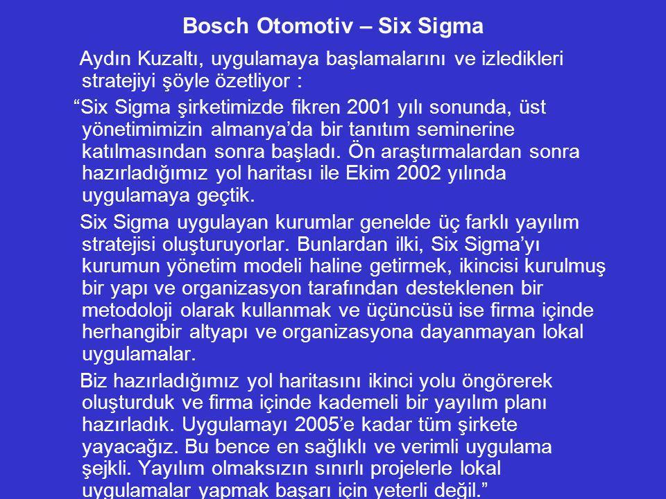 """Bosch Otomotiv – Six Sigma Aydın Kuzaltı, uygulamaya başlamalarını ve izledikleri stratejiyi şöyle özetliyor : """"Six Sigma şirketimizde fikren 2001 yıl"""