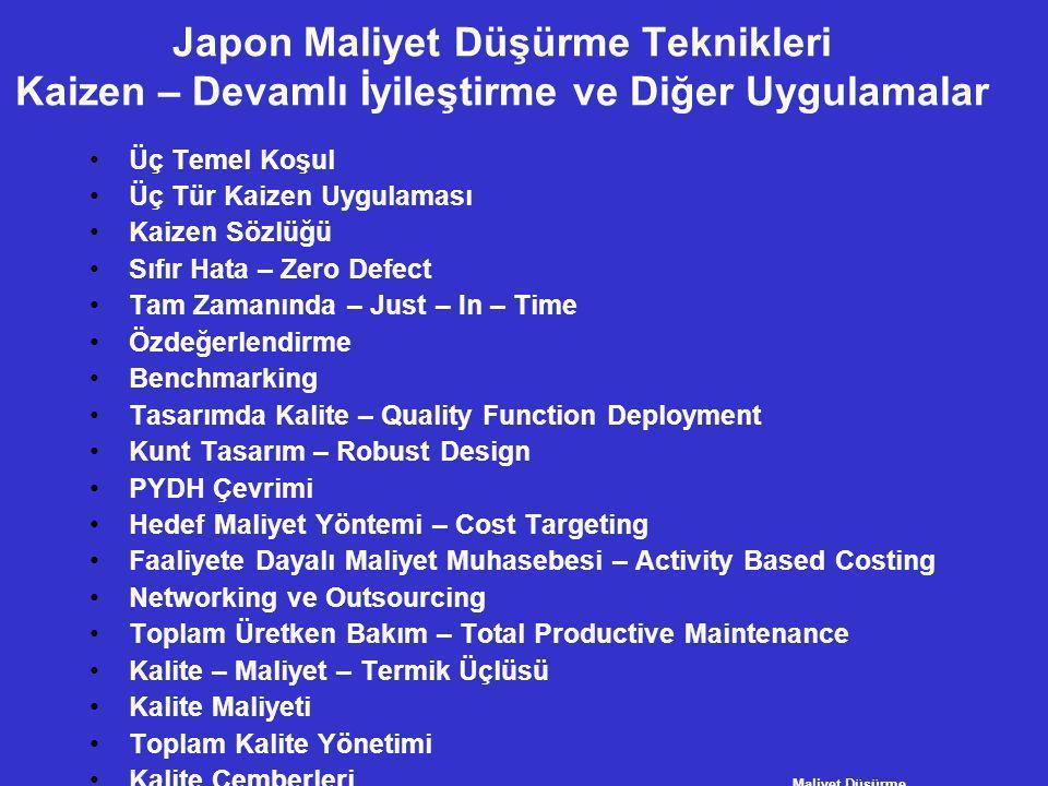 Japon Maliyet Düşürme Teknikleri Kaizen – Devamlı İyileştirme ve Diğer Uygulamalar •Üç Temel Koşul •Üç Tür Kaizen Uygulaması •Kaizen Sözlüğü •Sıfır Ha