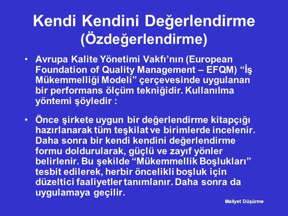 """Kendi Kendini Değerlendirme (Özdeğerlendirme) •Avrupa Kalite Yönetimi Vakfı'nın (European Foundation of Quality Management – EFQM) """"İş Mükemmelliği Mo"""