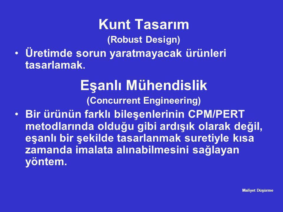Kunt Tasarım (Robust Design) •Üretimde sorun yaratmayacak ürünleri tasarlamak. Eşanlı Mühendislik (Concurrent Engineering) •Bir ürünün farklı bileşenl