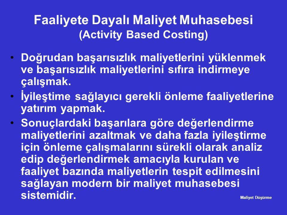 Faaliyete Dayalı Maliyet Muhasebesi (Activity Based Costing) •Doğrudan başarısızlık maliyetlerini yüklenmek ve başarısızlık maliyetlerini sıfıra indir
