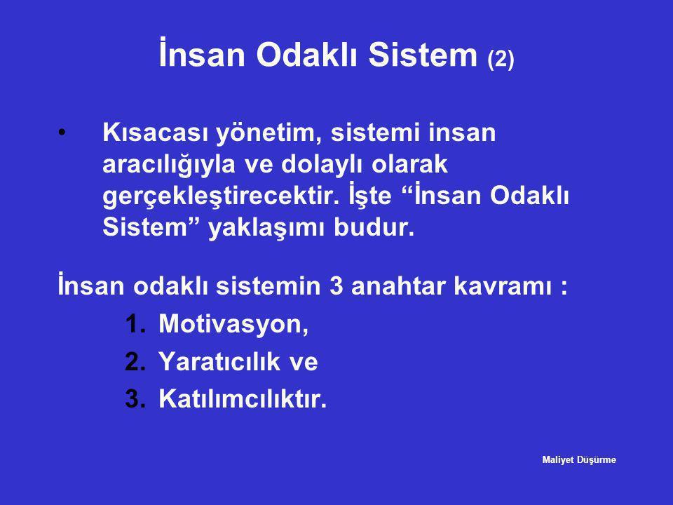 """İnsan Odaklı Sistem (2) •Kısacası yönetim, sistemi insan aracılığıyla ve dolaylı olarak gerçekleştirecektir. İşte """"İnsan Odaklı Sistem"""" yaklaşımı budu"""