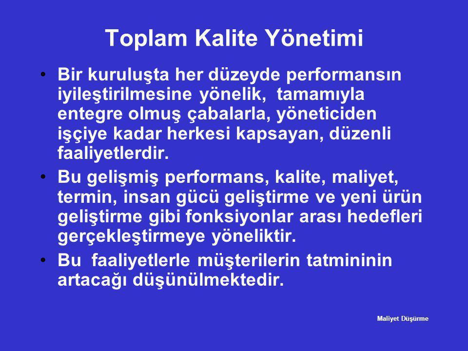 Toplam Kalite Yönetimi •Bir kuruluşta her düzeyde performansın iyileştirilmesine yönelik, tamamıyla entegre olmuş çabalarla, yöneticiden işçiye kadar