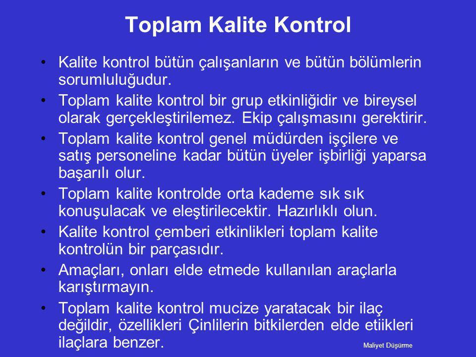 Toplam Kalite Kontrol •Kalite kontrol bütün çalışanların ve bütün bölümlerin sorumluluğudur. •Toplam kalite kontrol bir grup etkinliğidir ve bireysel