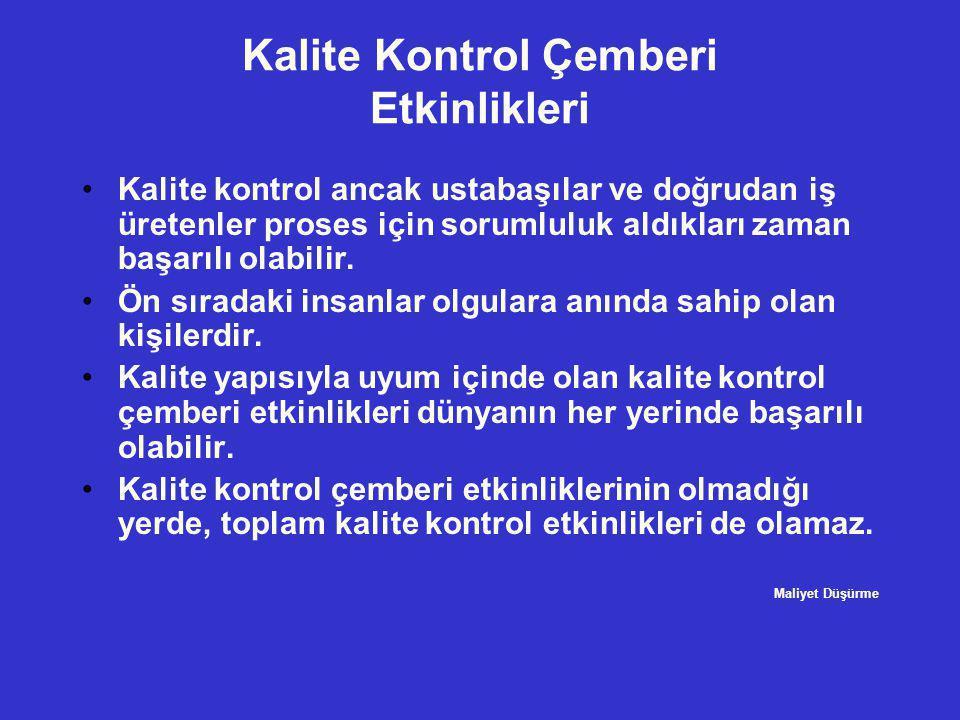 Kalite Kontrol Çemberi Etkinlikleri •Kalite kontrol ancak ustabaşılar ve doğrudan iş üretenler proses için sorumluluk aldıkları zaman başarılı olabili