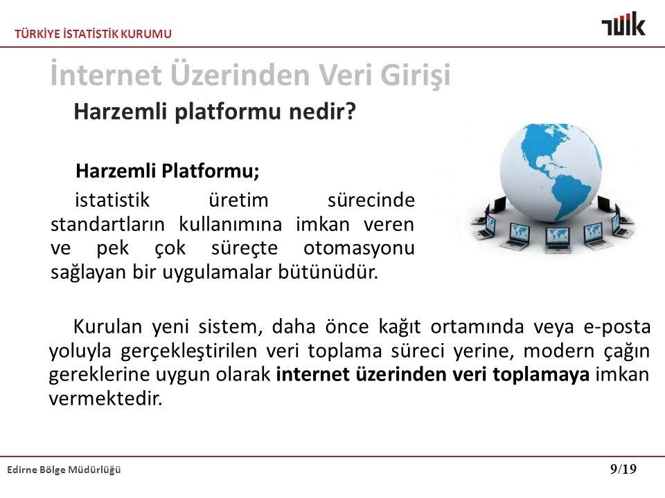 TÜRKİYE İSTATİSTİK KURUMU Edirne Bölge Müdürlüğü Harzemli platformu nedir? Kurulan yeni sistem, daha önce kağıt ortamında veya e-posta yoluyla gerçekl