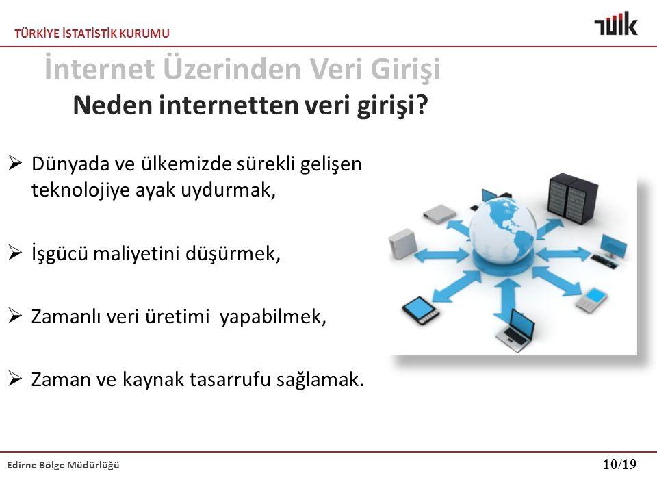 TÜRKİYE İSTATİSTİK KURUMU Edirne Bölge Müdürlüğü Neden internetten veri girişi?  Dünyada ve ülkemizde sürekli gelişen teknolojiye ayak uydurmak,  İş