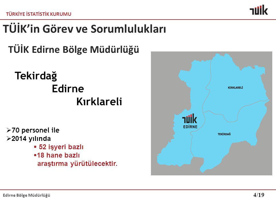 TÜRKİYE İSTATİSTİK KURUMU Edirne Bölge Müdürlüğü TÜİK'in Görev ve Sorumlulukları Tekirdağ Edirne Kırklareli  70 personel ile  2014 yılında  52 işye