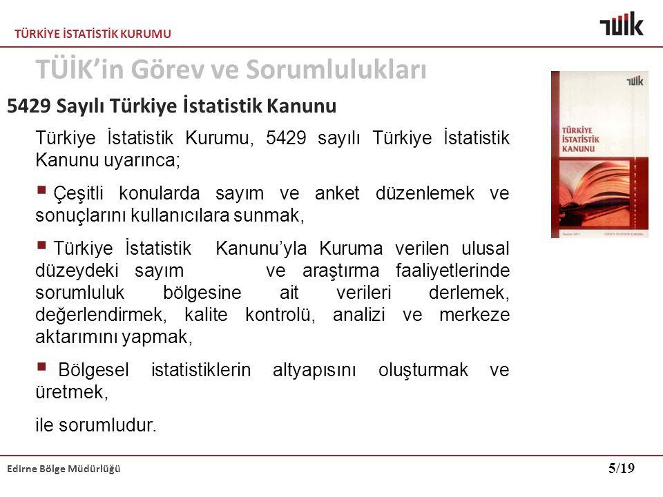 TÜRKİYE İSTATİSTİK KURUMU Edirne Bölge Müdürlüğü Veri gizliliği Bilgiler, yalnızca istatistiksel çalışmalarda kullanılmak amacıyla toplanmaktadır.