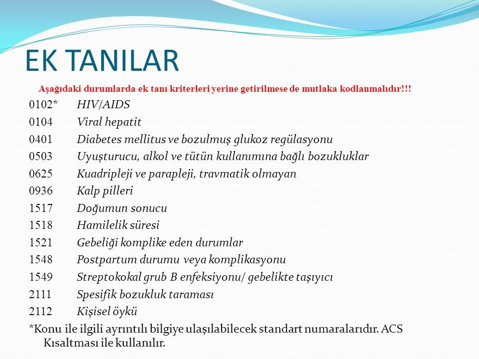 EK TANILAR Aşağıdaki durumlarda ek tanı kriterleri yerine getirilmese de mutlaka kodlanmalıdır!!! 0102 * HIV/AIDS 0104 Viral hepatit 0401 Diabetes mel