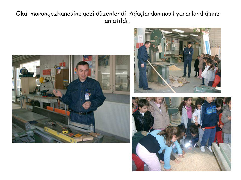 Okul marangozhanesine gezi düzenlendi. Ağaçlardan nasıl yararlandığımız anlatıldı.