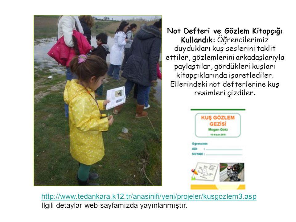 http://www.tedankara.k12.tr/anasinifi/yeni/projeler/kusgozlem3.asp İlgili detaylar web sayfamızda yayınlanmıştır. Not Defteri ve Gözlem Kitapçığı Kull