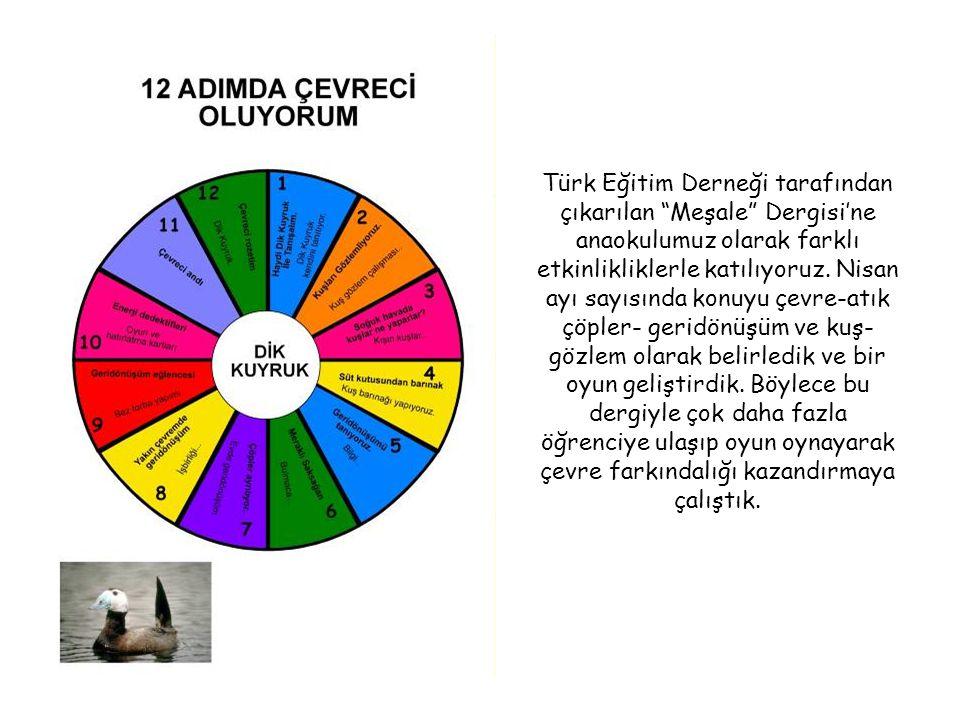 """Türk Eğitim Derneği tarafından çıkarılan """"Meşale"""" Dergisi'ne anaokulumuz olarak farklı etkinlikliklerle katılıyoruz. Nisan ayı sayısında konuyu çevre-"""