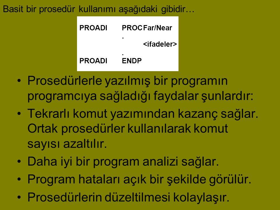 Basit bir prosedür kullanımı aşağıdaki gibidir… •Prosedürlerle yazılmış bir programın programcıya sağladığı faydalar şunlardır: •Tekrarlı komut yazımı