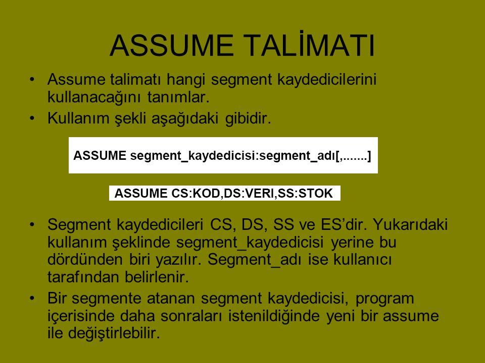 ASSUME TALİMATI •Assume talimatı hangi segment kaydedicilerini kullanacağını tanımlar. •Kullanım şekli aşağıdaki gibidir. •Segment kaydedicileri CS, D