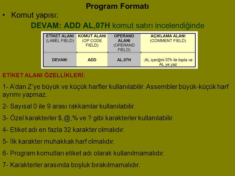 Program Formatı •K•Komut yapısı: DEVAM: ADD AL,07H komut satırı incelendiğinde ETİKET ALANI ÖZELLİKLERİ: 1- A'dan Z'ye büyük ve küçük harfler kullanıl