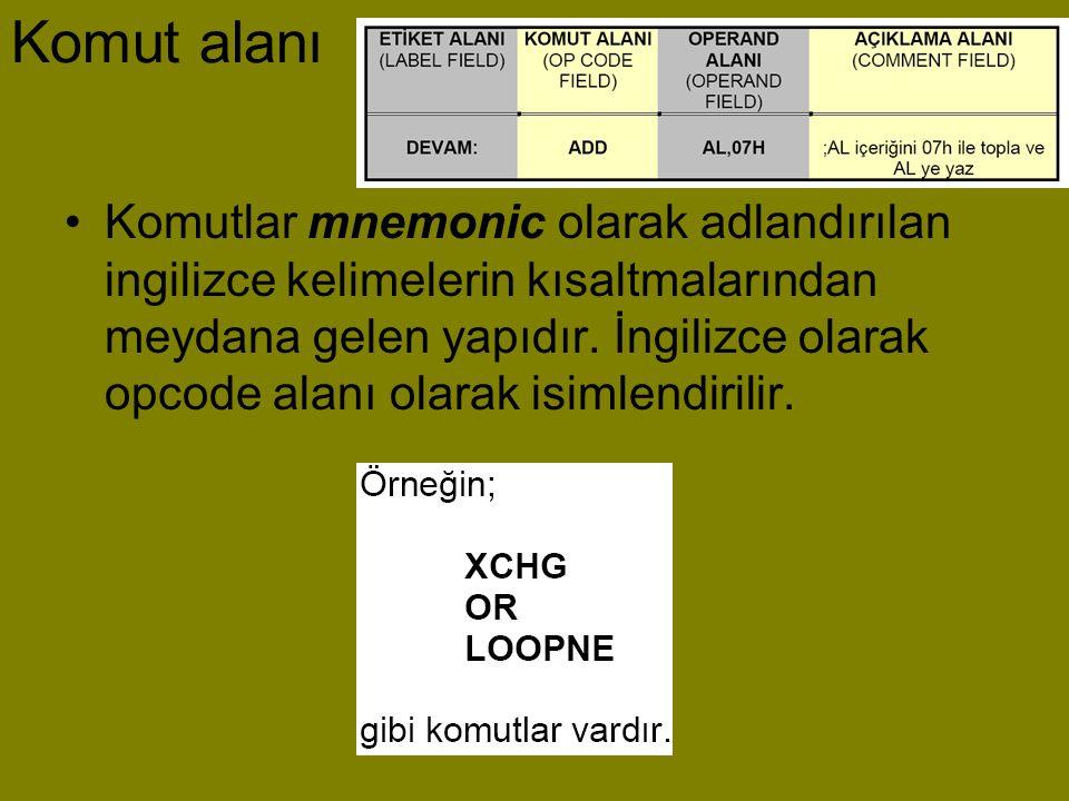 Komut alanı •Komutlar mnemonic olarak adlandırılan ingilizce kelimelerin kısaltmalarından meydana gelen yapıdır. İngilizce olarak opcode alanı olarak