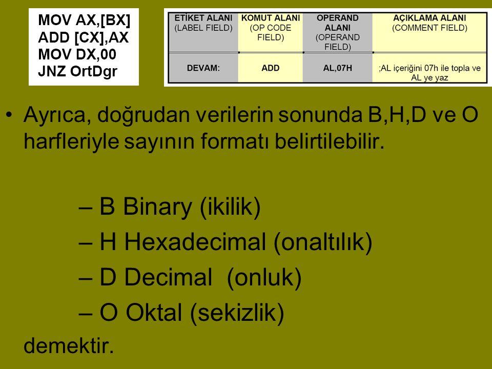•Ayrıca, doğrudan verilerin sonunda B,H,D ve O harfleriyle sayının formatı belirtilebilir. – B Binary (ikilik) – H Hexadecimal (onaltılık) – D Decimal