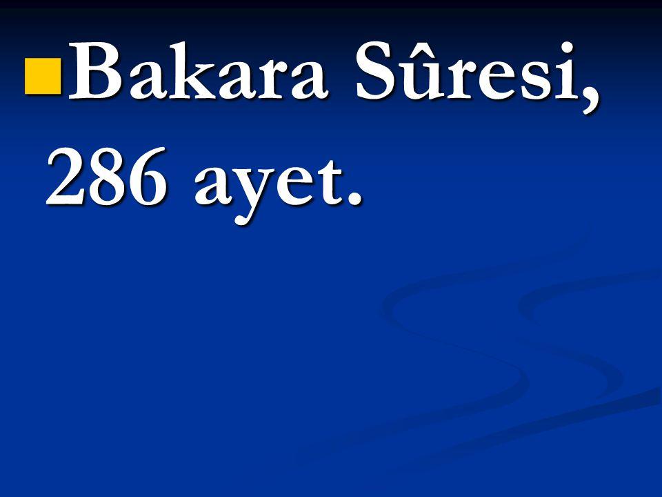 Bakara Sûresi, 286 ayet.
