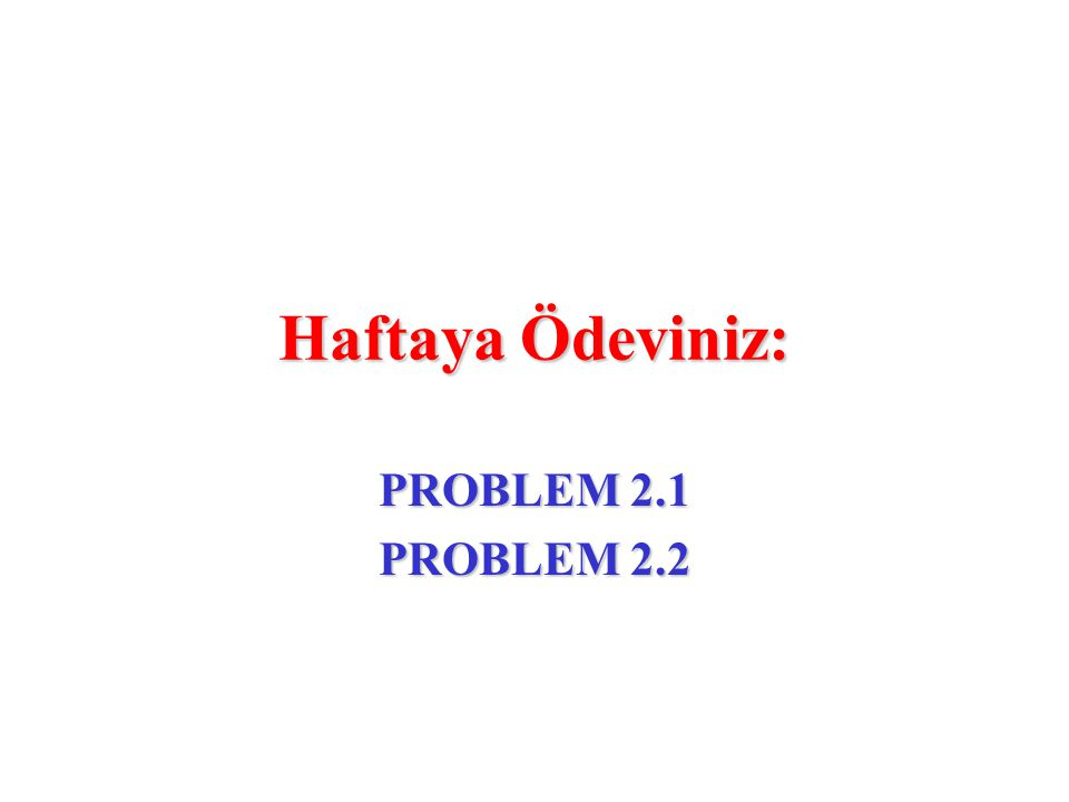 Haftaya Ödeviniz: PROBLEM 2.1 PROBLEM 2.2