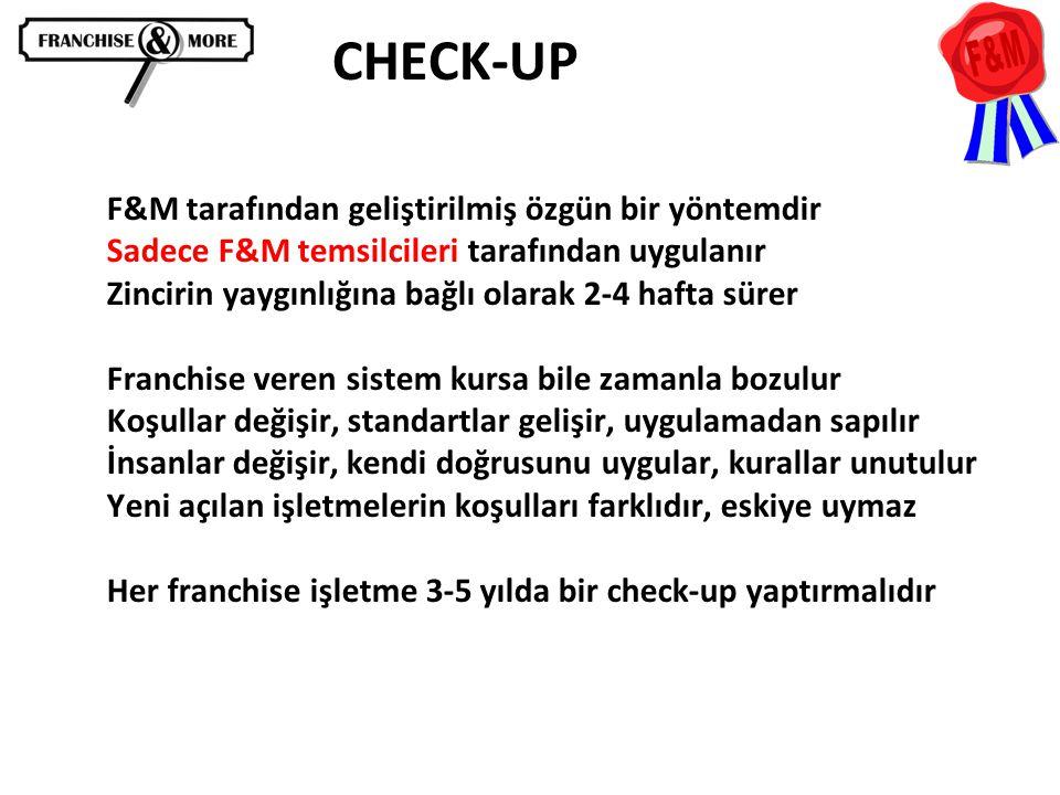 CHECK-UP F&M tarafından geliştirilmiş özgün bir yöntemdir Sadece F&M temsilcileri tarafından uygulanır Zincirin yaygınlığına bağlı olarak 2-4 hafta sü