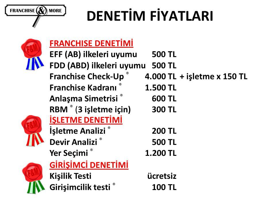 DENETİM FİYATLARI FRANCHISE DENETİMİ EFF (AB) ilkeleri uyumu500 TL FDD (ABD) ilkeleri uyumu 500 TL Franchise Check-Up ® 4.000 TL + işletme x 150 TL Fr