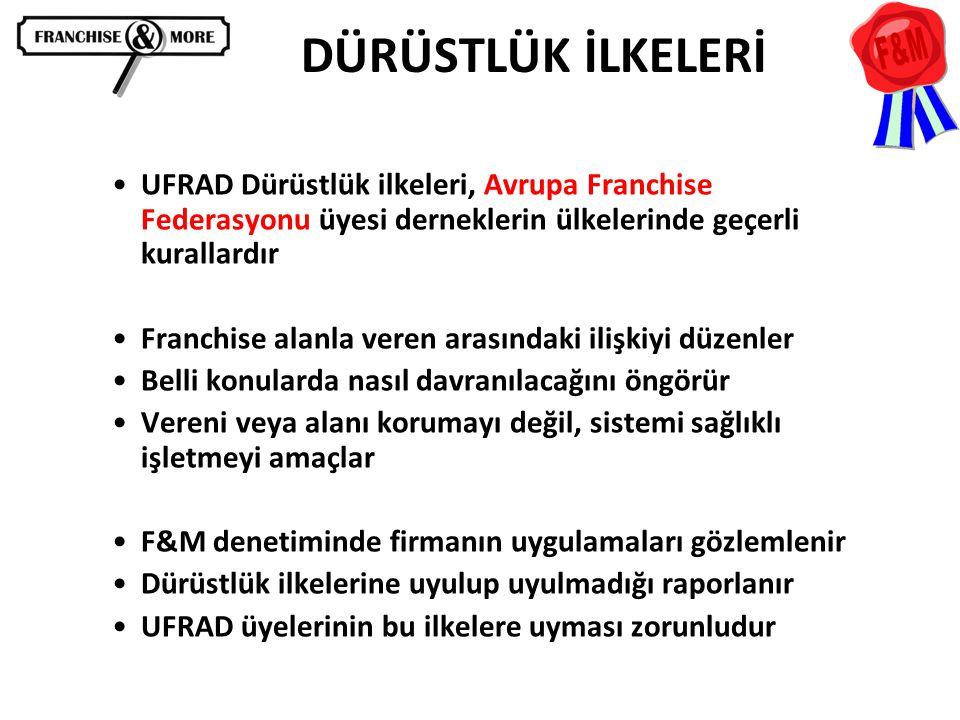 •UFRAD Dürüstlük ilkeleri, Avrupa Franchise Federasyonu üyesi derneklerin ülkelerinde geçerli kurallardır •Franchise alanla veren arasındaki ilişkiyi