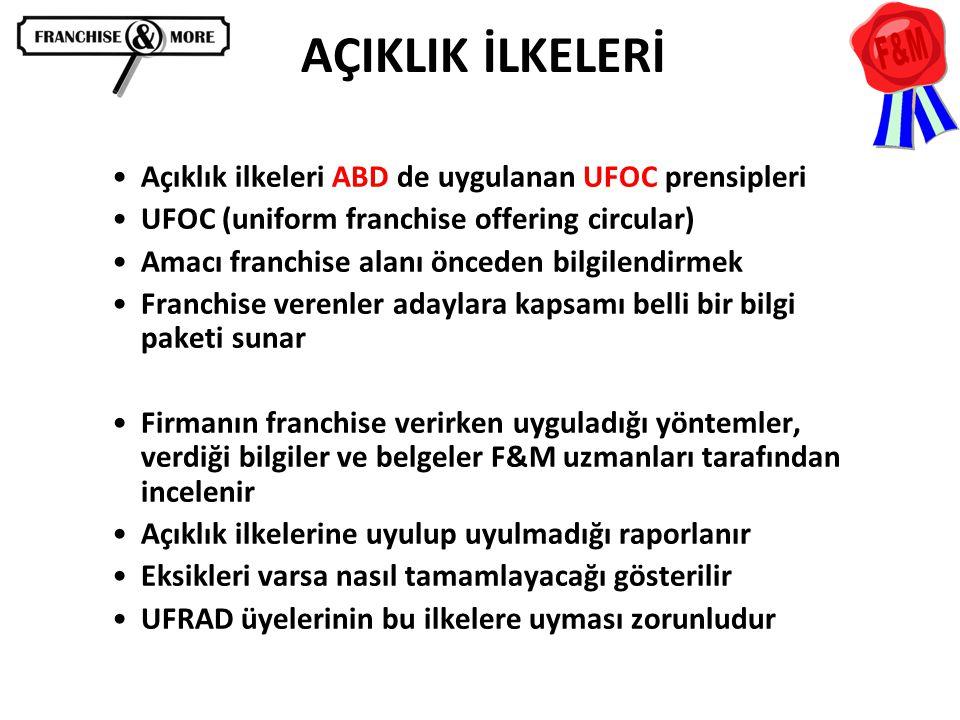 •Açıklık ilkeleri ABD de uygulanan UFOC prensipleri •UFOC (uniform franchise offering circular) •Amacı franchise alanı önceden bilgilendirmek •Franchi