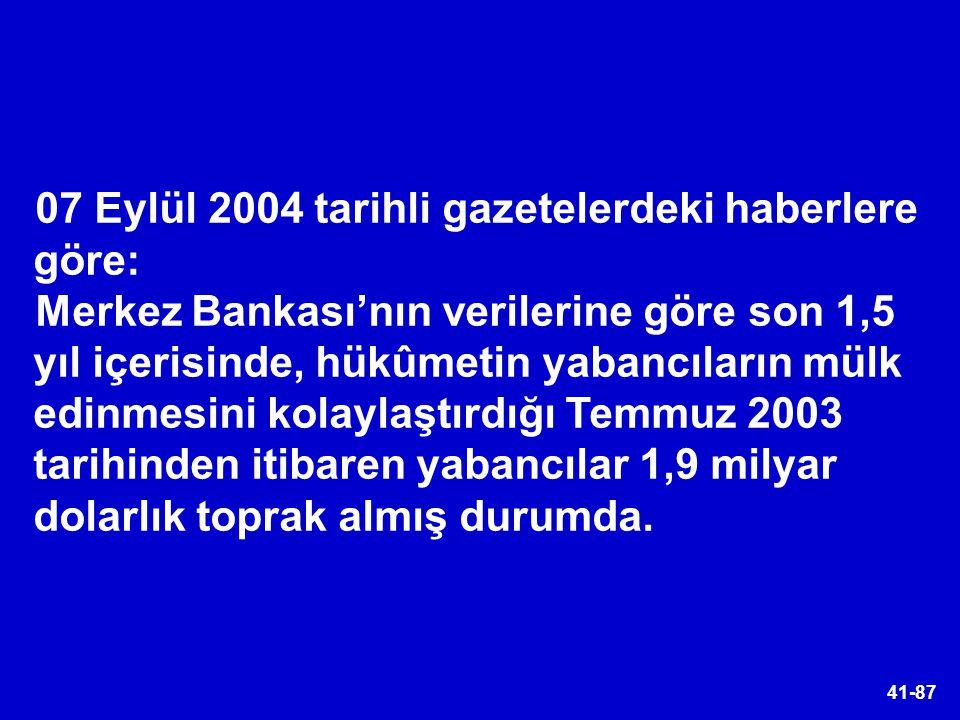 41-87 07 Eylül 2004 tarihli gazetelerdeki haberlere göre: Merkez Bankası'nın verilerine göre son 1,5 yıl içerisinde, hükûmetin yabancıların mülk edinm