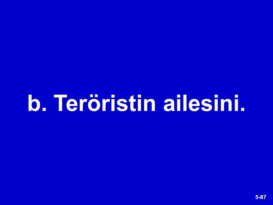5-87 b. Teröristin ailesini.