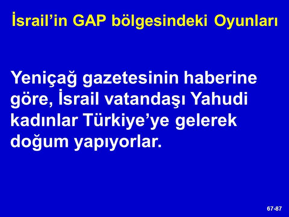 67-87 Yeniçağ gazetesinin haberine göre, İsrail vatandaşı Yahudi kadınlar Türkiye'ye gelerek doğum yapıyorlar. İsrail'in GAP bölgesindeki Oyunları